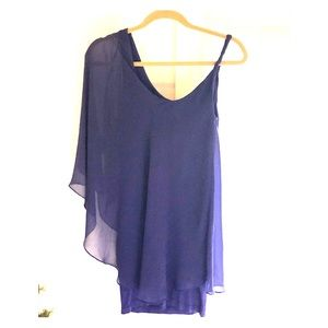 bebe One Shoulder Chiffon Mini Dress NWOT